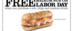 Firehouse Subs 2011 Labor Day Coupon