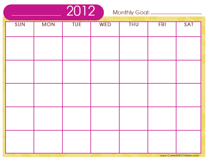 Printable Monthly Calendar Templates