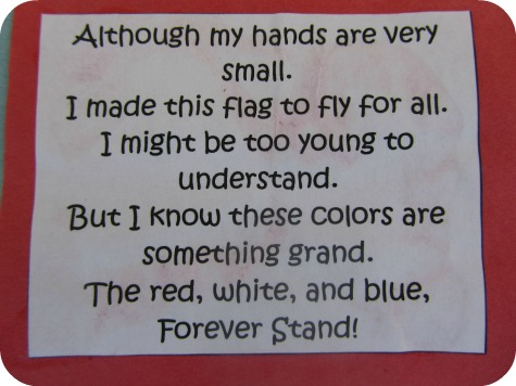 4th of July Handprint Flag Craft Wording