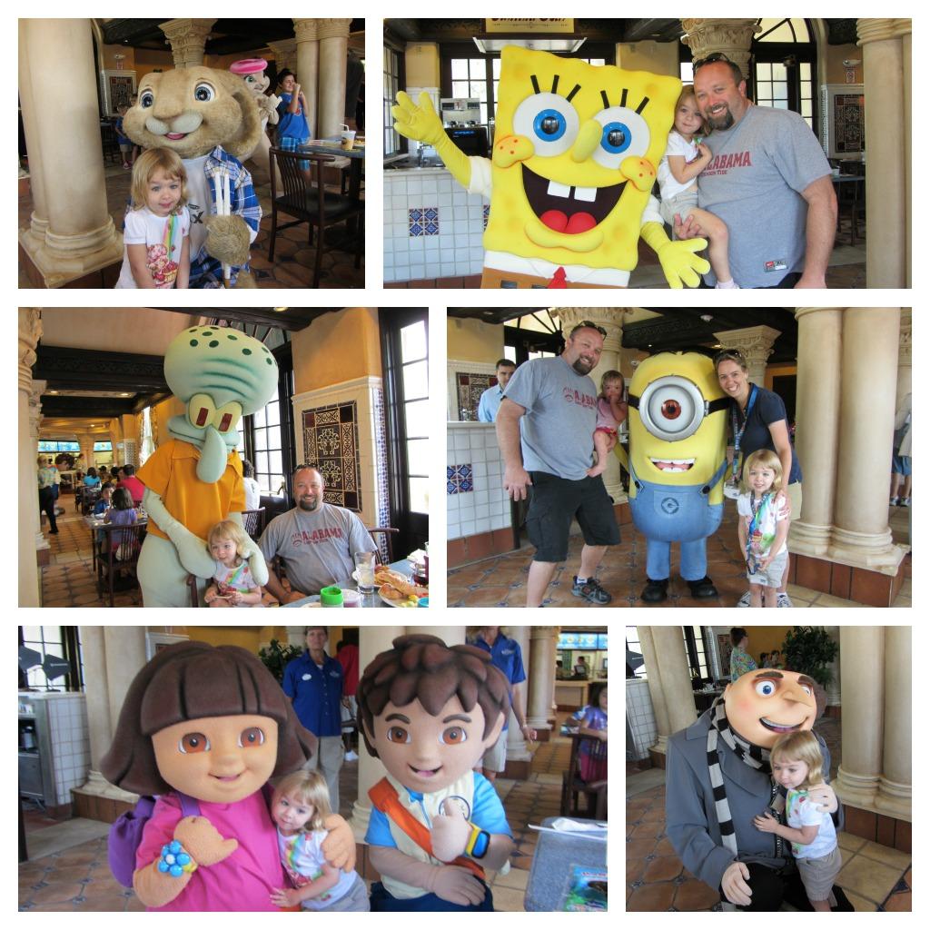 Universal Studios Orlando Character Breakfast Collage