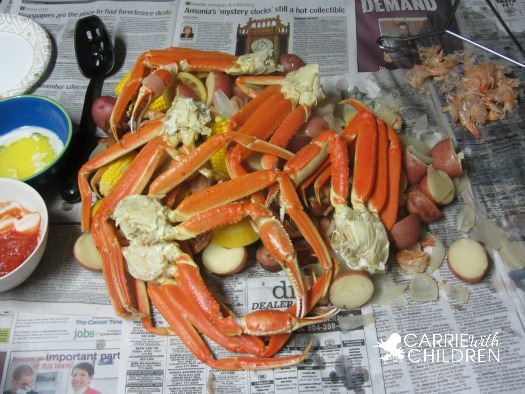 Low country boil with crab legs