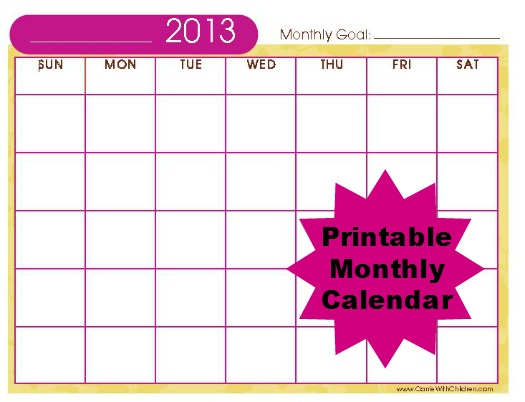 free stuff  2013 printable monthly calendar