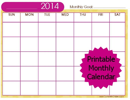 Free Stuff 2014 Printable Monthly Calendar Carrie With Children