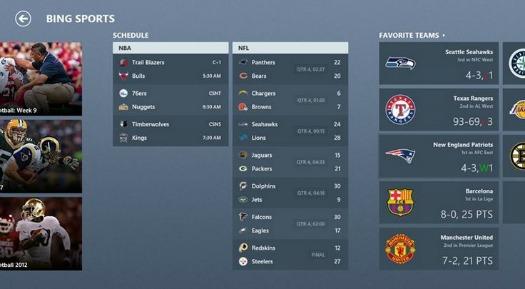 Bing Sports Windows 8 app